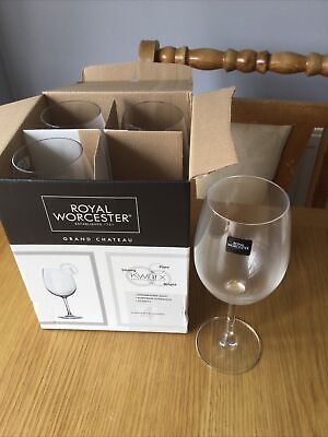 £6 • Buy ROYAL WORCESTER White Wine Glasses GRAND CHATEAU NEW IN BOX - DISHWASHER SAFE
