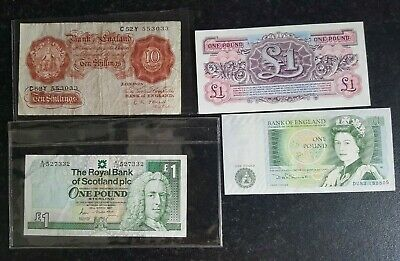 £10 • Buy 3 British One Pound Banknotes, 1 Early 10 Shilling Note