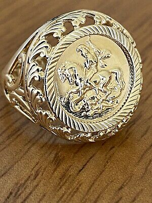 £165 • Buy 9ct Gold St George's Coin Ring Sovereign Style Mount ~ M ~ 4.4g ~ Fab!!