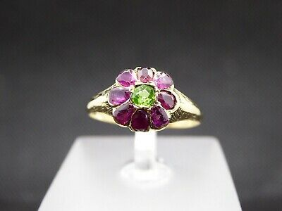 £230 • Buy Georgian 14ct / 18ct Gold Pink & Green Cluster Daisy Flower Ring Size N 1/2