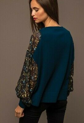 £14 • Buy New Captain Tortue Trend Teal Jumper Sheer Floral Sleeves Size M-L 12-16 RRP £70