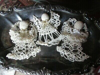 $ CDN8.50 • Buy Set Of 3 Vintage Hand Made Crocheted Christmas Ornaments Angels Ivory White