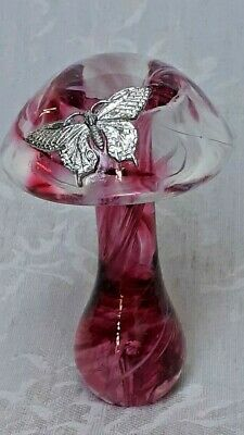£22 • Buy Rare Cranberry And White Swirl Mushroom With Pewter Butterfly By Heron Glass
