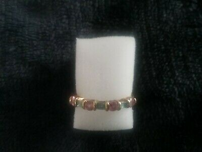 £35 • Buy 9ct Gold Pink Sapphire & Blue Topaz Ring Approx Q Purchased From QVC
