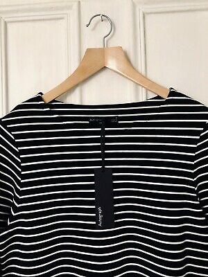 £7.99 • Buy Autograph At Marks & Spencer Black/Ivory Striped Top - BNWT - Size 8