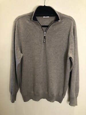 £1.20 • Buy N.Peal 100% Cashmere 1/2 Zip Jumper Grey Brown Taupe Size M Sweater Top Quality