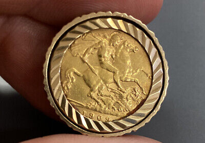 £311.11 • Buy Edward 1909, Half Sovereign Ring. Coin 22ct, Gold Ring 9ct.11.7 Grams Total.