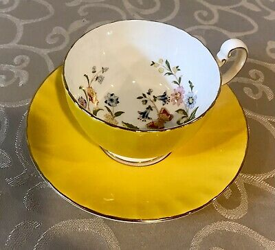 £25.32 • Buy AYNSLEY YELLOW TEA CUP & SAUCER SET Butterfly Gold Trim Flower Rose Vintage