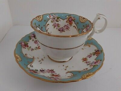 £17.50 • Buy Antique Ridgway Tea Cup And Saucer Set Light Blue Gold Decoration Pre-Owned Used