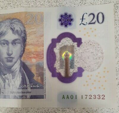 £34.99 • Buy 20 Pound Note AA 01 With Very Low Serial Number- Circulated
