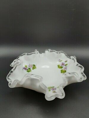 $4.25 • Buy Fenton Silver Crest Candy Trinket Dish Hand Painted Violets Ruffled Edge Signed