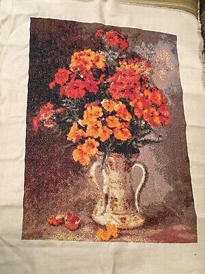 £39.66 • Buy Completed Finished Cross Stitch Flowers With Urn Vase - 18 X 14 Inches - New
