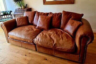 £53 • Buy Halo Sofa Genuine Aniline Leather Antique Vintage Chesterfield 4 Seater