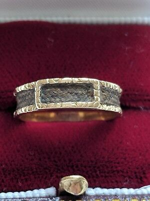 £220 • Buy Antique Braided Hair Mourning 18ct Gold Ring