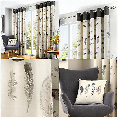 £38.99 • Buy IDAHO Feathers Pattern 100% Cotton Stylish Lined Eyelet Ring Top Curtains Pair