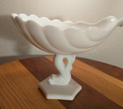 $43 • Buy Vintage Westmoreland Milk Glass Dolphin Pedestal Clamshell Compote 7.5 H