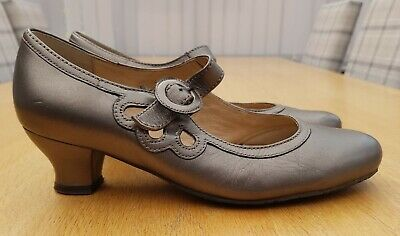 £19.99 • Buy Hotter Valetta Pewter / Bronze Leather Vintage Style Heels Shoes Size 6.5