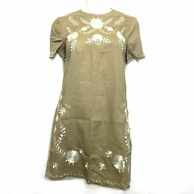 $24.99 • Buy Zara Embroidered Linen Dress Short Sleeves Taupe Sz S