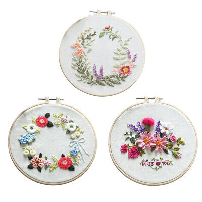 £12.21 • Buy 3x Flower Embroidery Kit Traditional Cross Stitch Beginners Cloth Kits
