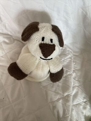 £2.50 • Buy Hand Knitted Dog Cream/brown Toilet Roll Cover