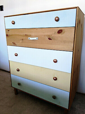 £25 • Buy Upcycled Oliver Bonas Inspired Solid Pine Chest Of Drawers Inc Copper Knobs