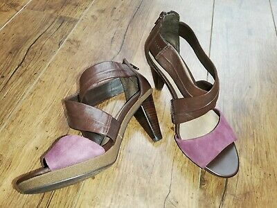 £9.99 • Buy Magenta Suede & Brown Leather Footglove M&S Strappy Sandals Shoes Cone Heels UK4