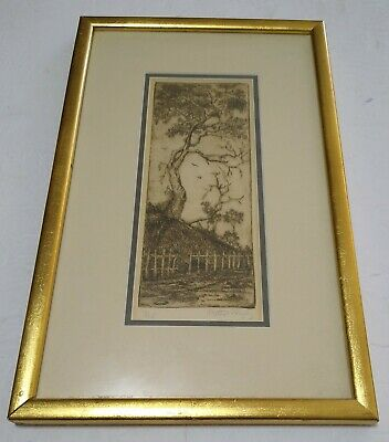 £15.82 • Buy Tree Numbered Art Etching Sketch Gold  Framed Signed By Artist
