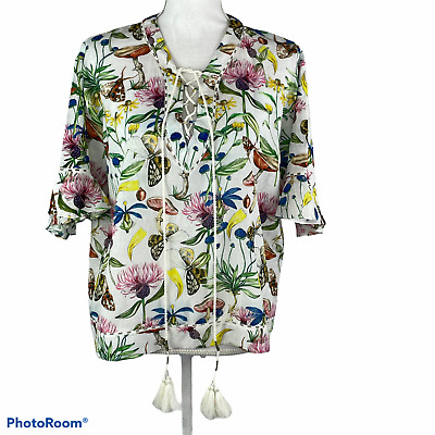 $ CDN52.87 • Buy TRYB Anthropologie Large Flora & Fauna Bamboo Blouse Top Butterfly Floral Blue