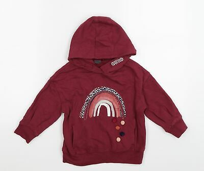 £5 • Buy NEXT Girls Red  Jersey Pullover Hoodie Size 4 Years  - Rainbow & Pom Pom