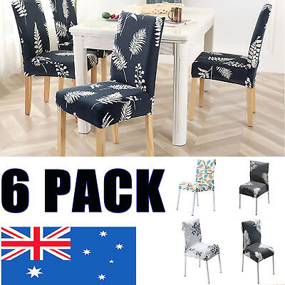 AU6.99 • Buy Stretch Dining Chair Seat Covers 6Pcs Removable Slipcover Wedding Banquet Party