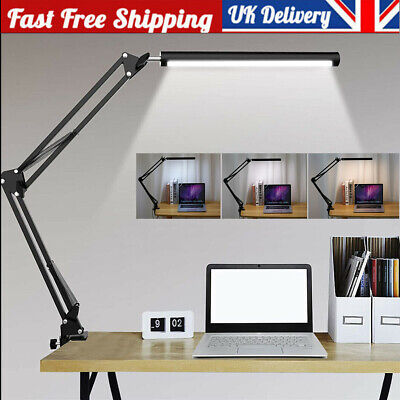 £9.89 • Buy Desk Lamp With Clamp Eye-Care LED Table Desktop Light Folding Swing Arm Dimmable