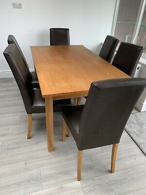 £150 • Buy Extending Solid Oak Dining Table And 6 Chairs