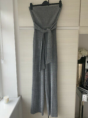 £3.50 • Buy Pretty Little Thing Sparkle Silver Jumpsuit Worn Once Size 8