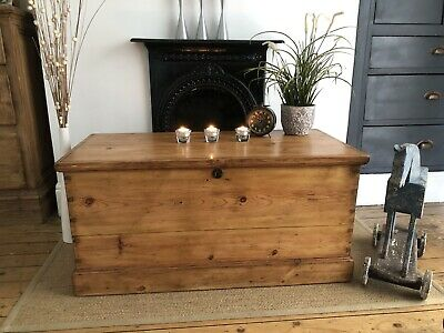 £275 • Buy Beautiful Victorian Old  Pine  Trunk / Vintage Chest / Blanket Box /Coffee Table