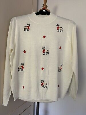 £0.99 • Buy Tu--christmas/xmas Jumper--ivory With Reindeer Print--fine Knit--size 18--ex Con