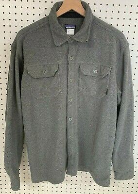 $45 • Buy Patagonia Mens Flannel Long Sleeve Thick Knit Button Shirt Board Sz L  Grey