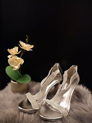 £1.50 • Buy Silver Glitter Diamond High Heel Going Out Shoes
