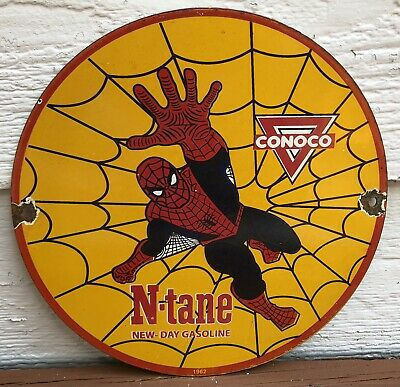 $ CDN13.07 • Buy Vintage 1962 Dated Porcelain Conoco N-tane Spiderman Gas And Oil Sign