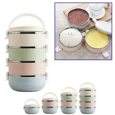 AU25.56 • Buy 700ml Round Thermo Insulated Thermal Food Container Bento Lunch Box 1-4 Layers