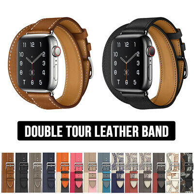 AU17.29 • Buy For Apple Watch Double Tour Leather Band Strap IWatch Series 6 5 4 3 SE 40/44mm