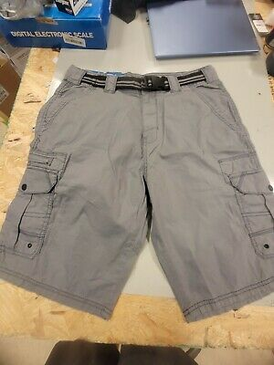 $5 • Buy Mens Iron Co. Belted Stretch Cargo Shorts Grey Flannel 32