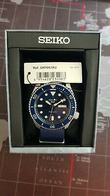 £160 • Buy Seiko Sports 5 Automatic Watch SRPD51K2 Blue Dial And Nato Strap (£250 RRP)
