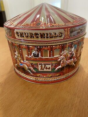 £4 • Buy Churchill's Carousel Fair Merry Go Round Embossed Sweet Tin Collectable Empty