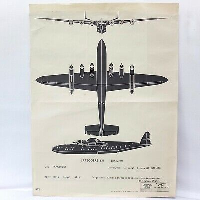 £20 • Buy Ww2 Latecoere 631 Flying Boat Aircraft Recognition Poster French Raf Air Force