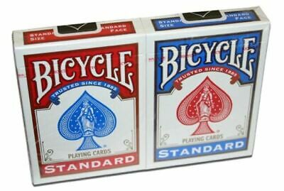 £4.50 • Buy 2 X Bicycle Standard Rider Back Poker Casino Playing Cards - 1 Red & 1 Blue Deck