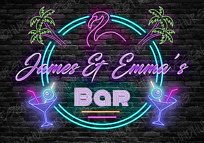 £5.99 • Buy Personalised Neon Effect Bar Metal Sign Style Plaque Fun Alcohol Beer Garage
