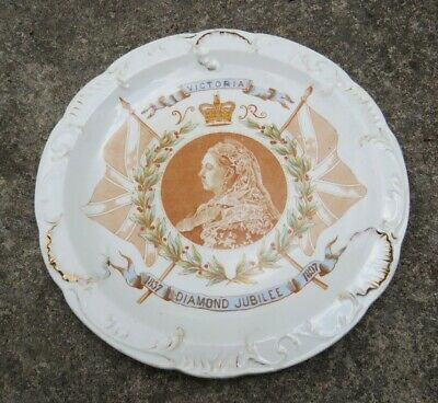 £12 • Buy Antique 1897 Queen Victoria Diamond Jubilee Salad Plate By Henry Alcock