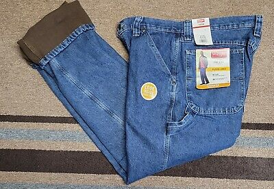 $16.99 • Buy NEW Mens WRANGLER FLEECE LINED Relaxed Fit CARPENTER Blue JEANS   Size 32 X 34