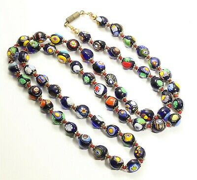 $49.99 • Buy Vintage Hand Knotted Venetian Murano Blue Millefiori Glass Bead Necklace 29