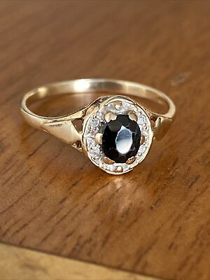 £95 • Buy Vintage Ladies 9ct Gold Sapphire & Diamond Cluster  Ring  ~Size M ~ Fab !!
